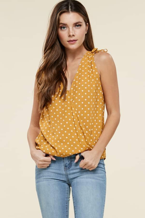 8a3794bae5b7d Yellow Polka Dot Top - Jade